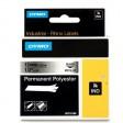Dymo RHINO 18486 Permanente Polyester Tape zwart op gemetaliseerd 12mm