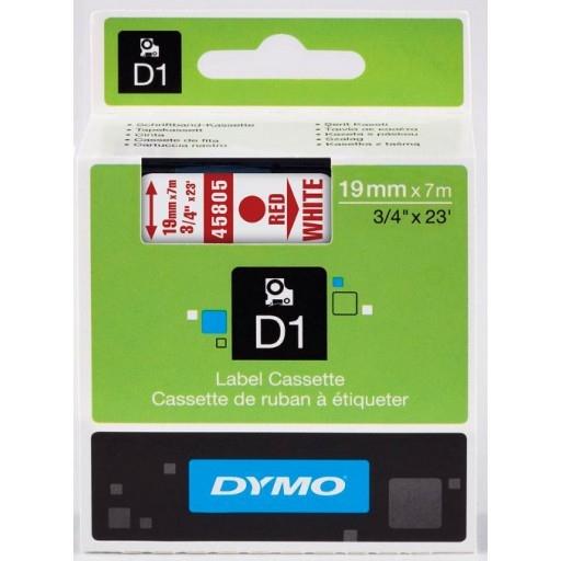 Dymo 45805 D1 Tape 19mm x 7m rood op wit