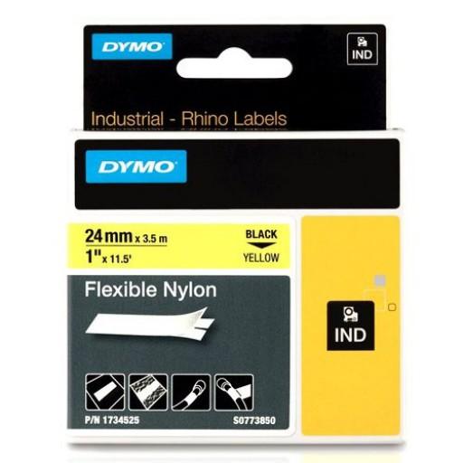 Dymo 1734525 RHINO flexibel nylon zwart op geel 24mm