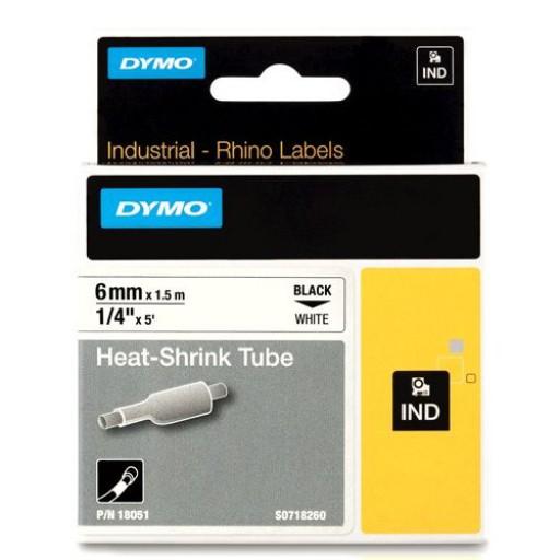Dymo RHINO 18051 krimpkous zwart op wit 6mm