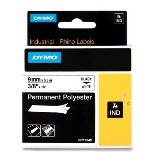 Dymo RHINO 18482 Permanente Polyester Tape zwart op wit 9mm