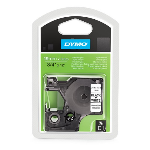 Dymo 16958 D1 flexibel nylon 19mm zwart op wit