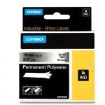 Dymo RHINO 18487 Permanente Polyester Tape zwart op gemetaliseerd 19mm