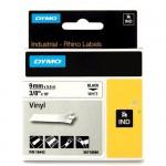 Dymo RHINO 18443 gekleurd vinyl zwart op wit 9mm breed