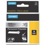 Dymo RHINO 1805434 permanent polyester zwart op metallic 24 mm