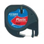 Dymo 91203 LetraTag tape zwart op rood