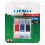 Dymo 3D reliëftape voor lettertangen, combinatieverpakking rood, blauw en zwart