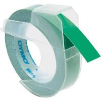 Dymo 3D reliëftape, wit op groen, 9mm x 3 m, doos van 10 rol