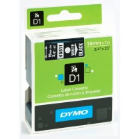 Dymo 45811 D1 Tape 19mm x 7m wit op zwart