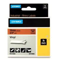 Dymo RHINO 18436 Gekleurd Vinyl zwart op oranje 19mm