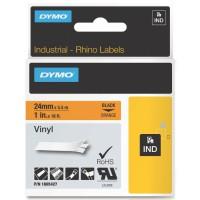 Dymo RHINO 1805427 vinyl zwart op oranje 24mm
