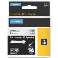 Dymo 1805433 RHINO permanent polyester zwart op transparant 24mm
