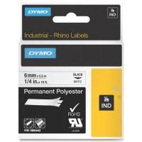 Dymo 1805442 RHINO permanent polyester zwart op wit 6mm
