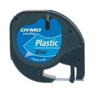 Dymo 91205 LetraTag zwart op blauw plastic tape